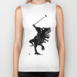 Big foot playing polo on a T-rex Biker Tank