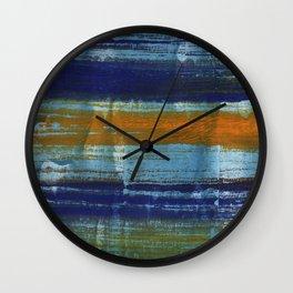 Yellow-blue abstract art Wall Clock