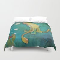 squid Duvet Covers featuring Squid by Monica O