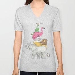 A Stack Of Animals with elephant, lion, flamingo, monkeys and snake Unisex V-Neck