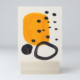 Unique Abstract Unique Mid century Modern Yellow Mustard Black Ring Dots Mini Art Print