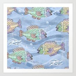 Fish in a pond pattern design Art Print