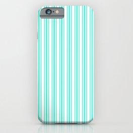 Trendy Large Aqua Gift Box Pastel Aqua French Mattress Ticking Double Stripes iPhone Case