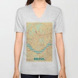 Seoul Map Retro Unisex V-Neck