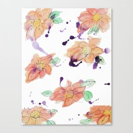 blazz studios: Watercolour Flowers Canvas Print