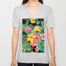 Tropical Floral Pattern Hawaii Unisex V-Neck
