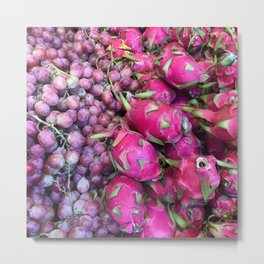 Grapes & Dragon Fruit Metal Print