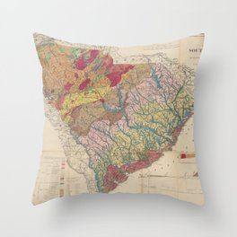 Vintage Geological Map of South Carolina (1883) Throw Pillow