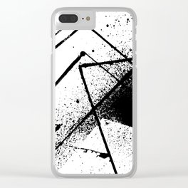 black and white spray paint Clear iPhone Case