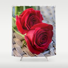 Two Elegant Red Roses on Rattan Table Shower Curtain