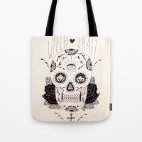 dia de los muertos Tote Bags featuring Dia de los muertos by Thrashin