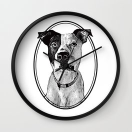 Pit Bull with oval frame Wall Clock