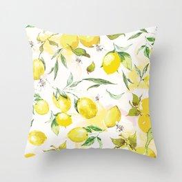 Watercolor lemons Throw Pillow