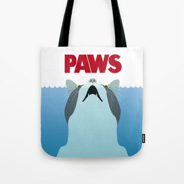 PAWS - Spoof movie poster inspired by classic cult horror film JAWS Tote Bag