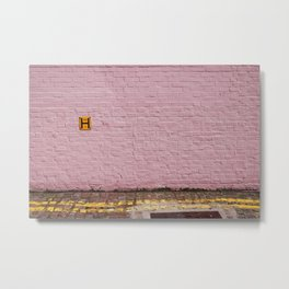 Pink Brick Wall Metal Print