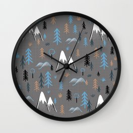 Hiking trees and mountains -blue Wall Clock