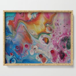 Fluid Nature - Fire and Water - Abstract Acrylic Art Serving Tray