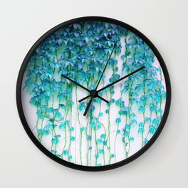 Average Absence, Botanical Minimal Nature Creepers Plants, Tropical Watercolor Bohemian Painting Wall Clock