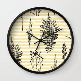 Botanicals & Stripes Wall Clock