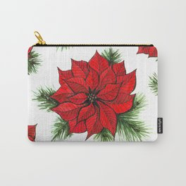 Poinsettia and fir branches pattern Carry-All Pouch