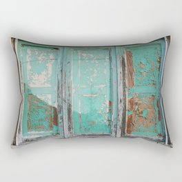 Window with turquoise blinds Rectangular Pillow