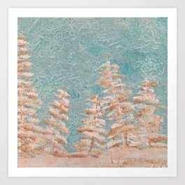 Golden trees on a cold day Art Print