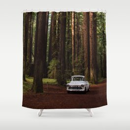 Classic White Truck in the Navarro Redwoods State Park in California, California Photography, Woodland Art, Magical Unique Print Shower Curtain
