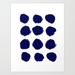 Aria - indigo brushstroke dot polka dot minimal abstract painting pattern painterly blue and white  Art Print