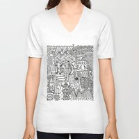 barcelona V-neck T-shirts featuring Barcelona  by Michaella Fortune