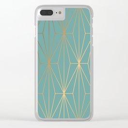 ELEGANT BLUE GOLD PATTERN Clear iPhone Case