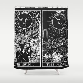 The Sun and Moon Tarot Cards | Obsidian & Pearl Shower Curtain