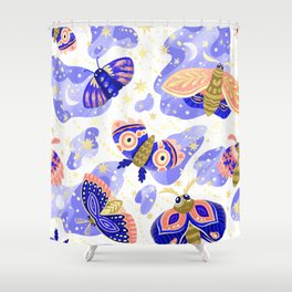 Abstract watercolor lilac navy blue gold butterflies Shower Curtain