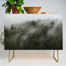 Pacific Northwest Foggy Forest Credenza