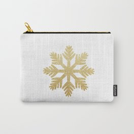 Gold Glitter Snowflake Carry-All Pouch