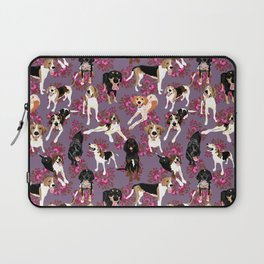 Coonhound pink floral pattern Laptop Sleeve