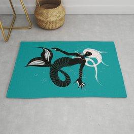 Creepy Dark Mermaid With Fish Skeleton Necklace Rug