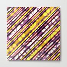 Oblique floral stripes Metal Print