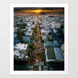 Sunrise at Lombard Street Art Print