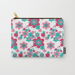Pink Raspberry Aqua Blue Floral  Carry-All Pouch