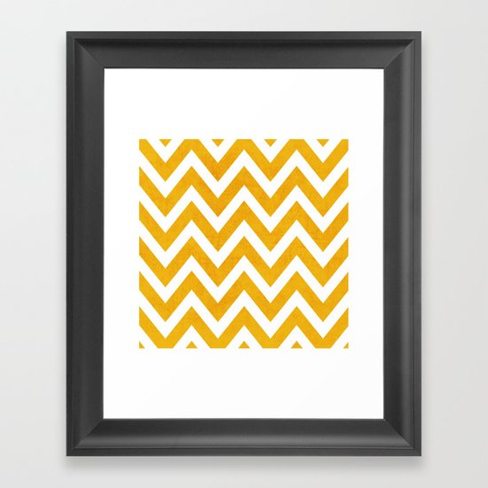 yellow chevron Framed Art Print