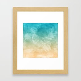 Beach Watercolor, Blue Beige Ombre, Coastal Decor Framed Art Print
