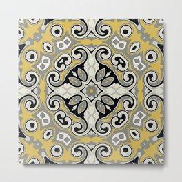 Edwardian Geo Yellow Grey Metal Print