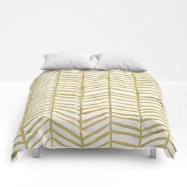 Gold Herringbone Comforters
