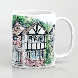 English Tudor-Style House, Watercolour Painting Coffee Mug
