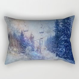 Chairlift into the Universe // Milky Way Galaxy Snowboarding Snow Nebula Stars Mixed Media Popart Rectangular Pillow