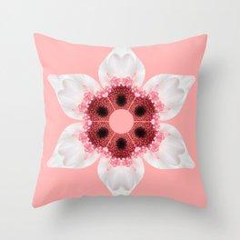 White and Pink Gerber Kaleidoscope Throw Pillow