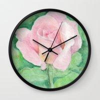 tiffany Wall Clocks featuring Tiffany Rose by Annie Mason