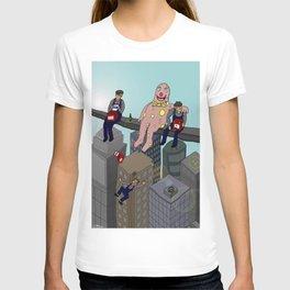 Mr Blobby atop a skyscraper T-shirt