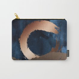Navy Blue, Gold And Copper Abstract Art Carry-All Pouch