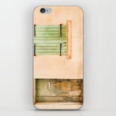 Green wooden door and shuttered window iPhone & iPod Skin